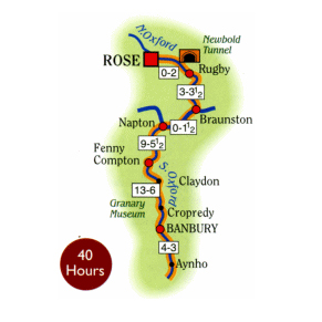Rose Narrowboats to Banbury Map