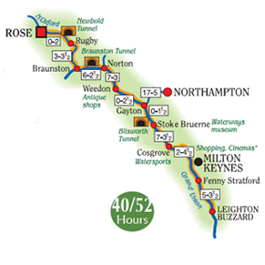 Rose Narrowboats to Milton Keynes or Leighton Buzzard Map