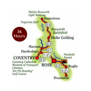 Rose Narrowboats to the Ashby Canal and Northern Oxford Canal Map