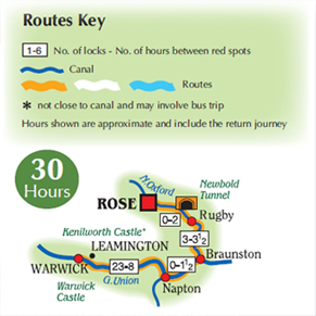 Rose Narrowboats to Warwick Map